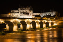 Amboise Chateau and old bridge at night Stock Photos