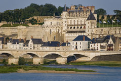 Amboise City, France. Amboise City, Loire Valley, France. View from the other side of the Loire river Royalty Free Stock Images