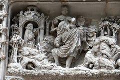 Amboise - dettaglio di scultura gotica recente sulla cappella di San-Hubert Fotografia Stock Libera da Diritti
