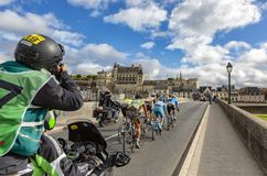 The Breakaway and the Amboise Chateau- Paris-Tours 2017 royalty free stock photos