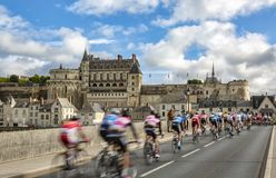 The Breakaway and the Amboise Chateau- Paris-Tours 2017 stock photos