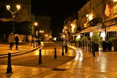 Amboise Francja przy nocy Miękkim Żółtym Lamplight obraz royalty free
