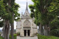 Amboise helgonHubert gotiskt kapell, Leonardo Da Vinci gravvalv i Loire Valley fotografering för bildbyråer