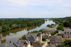 Amboise, Loire valley. View of Amboise and Loire river from the castle, France Royalty Free Stock Photos