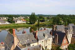 Amboise, Loire valley. View of Amboise and Loire river from the castle, France Stock Image