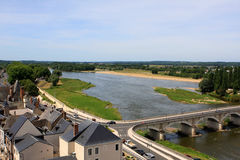 Amboise, Loire valley. View of Amboise and Loire river from the castle, France Stock Photos