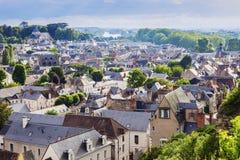 Amboise panorama - luchtmening Stock Foto