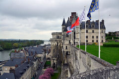 Amboise. A view of the Royal Castle of Amboise and the town of Amboise Royalty Free Stock Photography