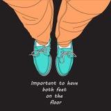 Ambos os pés no assoalho Ilustração do Vetor
