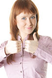 Ambos os polegares levantam o vertical fotografia de stock