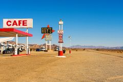 Roy`s motel and cafe  on historic Route 66. Amboy, California, USA - December 27, 2017 : Roy`s motel and cafe with vintage neon sign on historic Route 66 in the Stock Images