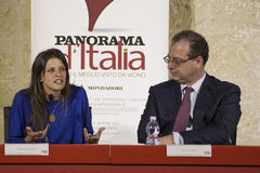 Ambra mongio and giorgio mule conference Royalty Free Stock Photos