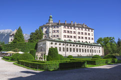 Ambras Castle and the garden in Innsbruck, Austria. Ambras Castle and the green garden in Innsbruck ,capital of Tirol, Austria Stock Photos