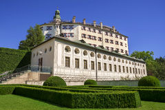 Ambras Castle and the garden in Innsbruck, Austria Royalty Free Stock Photo
