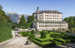 Ambras Castle and the garden in Innsbruck, Austria. Ambras Castle and the green garden in Innsbruck ,capital of Tirol, Austria Stock Images
