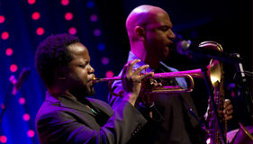 Ambrose Akinmusire Quintet voert levend op 28ste April Jazz uit Stock Afbeelding