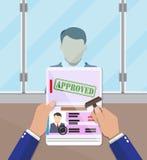 Ambtenaar die een zegel in het paspoort zetten vector illustratie