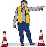 Ambtenaar die verkeer leiden stock illustratie
