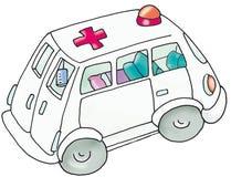 Ambulância, carro do hospital, crianças Fotografia de Stock