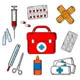 Ambulância e ícones médicos dos objetos Foto de Stock Royalty Free