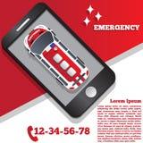 Ambulância sob a forma de uma aplicação móvel Fotos de Stock