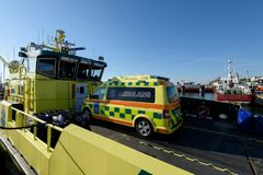 Ambulace boat in Styrso, Sweden Royalty Free Stock Photo