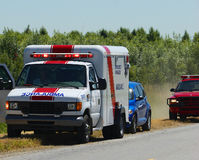 Ambulance. Pulled over at roadside accident Royalty Free Stock Image