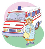 Ambulance. Color illustration of an ambulance and a nurse Royalty Free Stock Photography