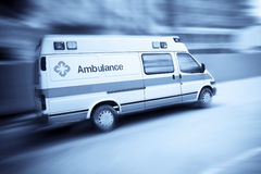 Ambulance. Car speeding with blurred motion stock images