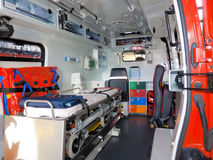 Ambulance. Inside an ambulance with accessory Stock Image