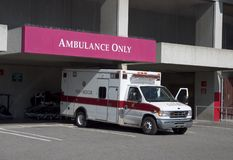 Ambulance #2. An ambulance has arrived at the hospitals emergency room royalty free stock images