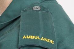 Ambulance. The epaulets of an ambulance drive shot in closeup Stock Photo
