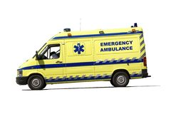 Ambulance. Yellow emergency ambulance van isolated over white background stock photos