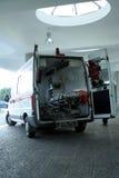 Ambulance. Parked ambulance near a hospital entrance Stock Photo