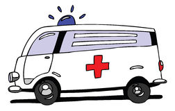Ambulance. Hand drawn cartoon ambulance car Stock Photography
