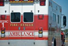 Ambulance. On the road closeup Stock Photos