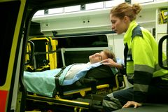 Ambulance. Emergency equipment in an ambulance interior royalty free stock photo