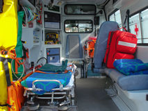 Ambulance. And equipment views from inside Stock Photos