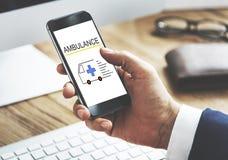 Ambulance Accidental Emergency Urgent Situation. Mobile Device Online Ambulance Accidental Emergency Situation royalty free stock images