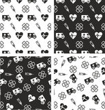 Ambulance Aligned & Random Seamless Pattern Set. This image is a illustration and can be scaled to any size without loss of resolution Royalty Free Stock Image