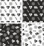 Ambulance Aligned & Random Seamless Pattern Set Royalty Free Stock Image