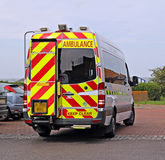 Ambulance arrival. Photo of a british emergency vehicle ambulance arriving at the scene Stock Photos