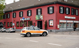 Ambulance arriving fast at accident place in German city Royalty Free Stock Image