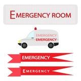 Ambulance avec la bannière de secours sur le fond blanc illustration libre de droits