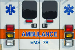 Ambulance back. Back of ambulance EMS vehicle Stock Images