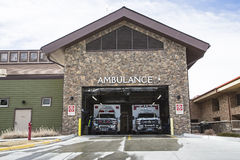Ambulance bay public hospital emergency entrance Stock Photos