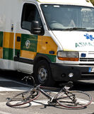 Ambulance and Bicycle Royalty Free Stock Photos