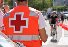 Ambulance on bicycles race Stock Image