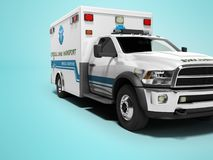 Ambulance with blue accents 3d render on blue background with shadow. Ambulance with blue accents 3d render on blue background royalty free illustration