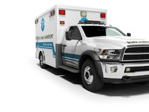 Ambulance with blue accents 3d render on white background with shadow. Ambulance with blue accents 3d render on white background stock illustration